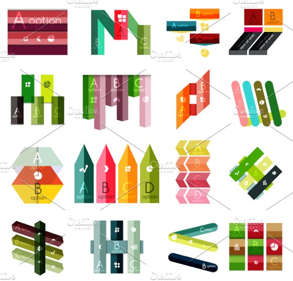 16 paper infographic designs set 14