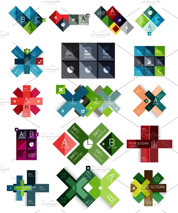16 paper infographic designs set 16