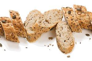 Slices of multigrain bread.