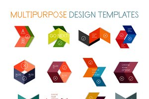 16 paper infographic designs set 18