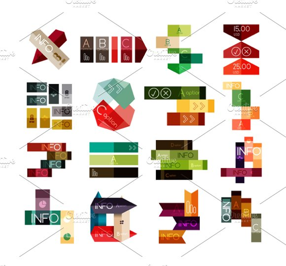 16 paper infographic designs set 19