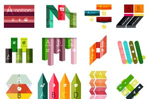 16 paper infographic designs set 21