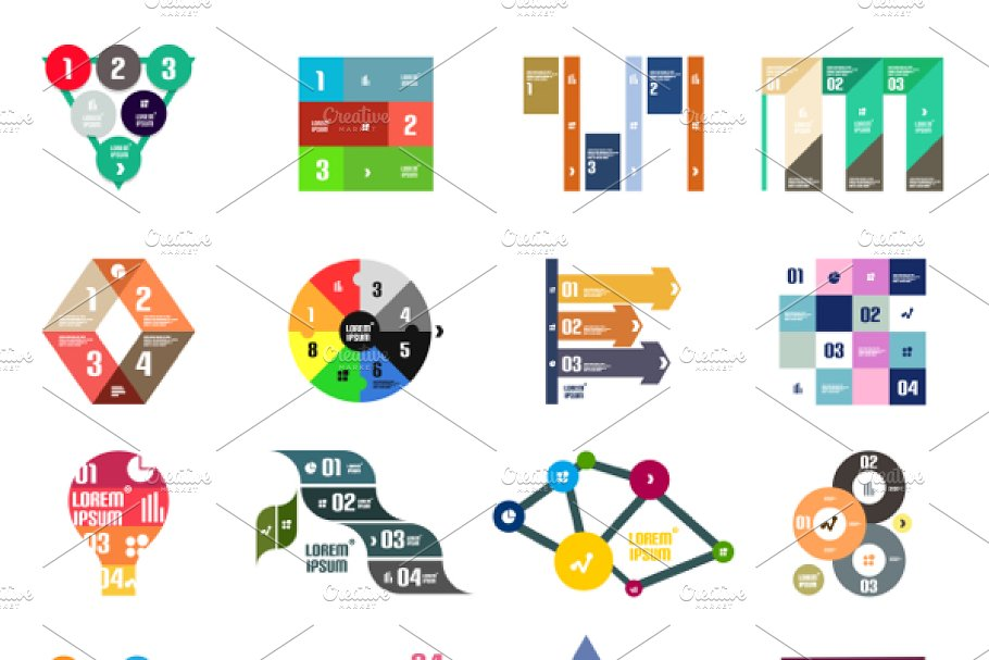 16 paper infographic designs set 22 in Graphics