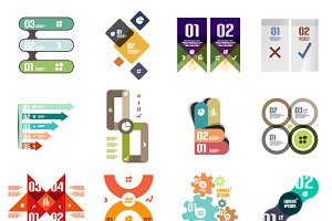 16 paper infographic designs set 24
