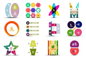 16 paper infographic designs set 26