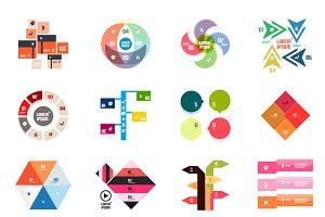16 paper infographic designs set 27