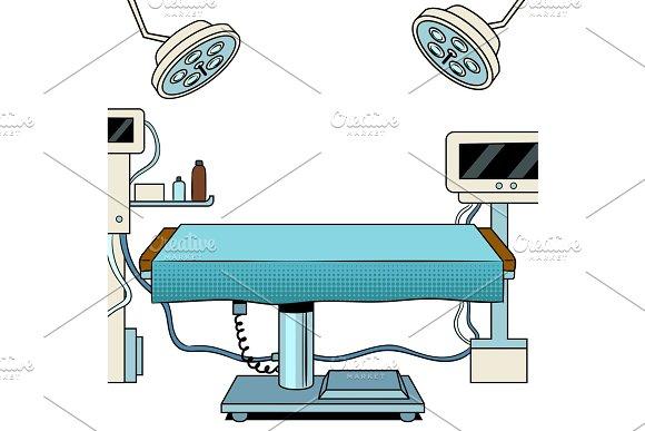 Medical surgical room pop art vector