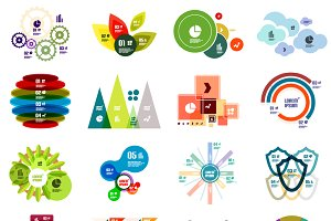 16 paper infographic designs set 29