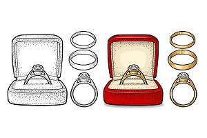 Wedding ring with diamond in a gift box. Vintage color vector engraving illustration