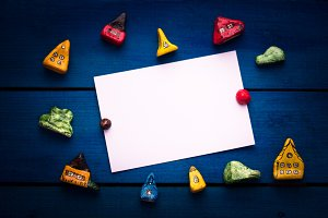 Toys blue background, white sheet