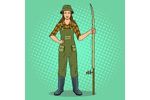 Fisherman girl pop art vector illustration