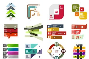16 paper infographic designs set 31