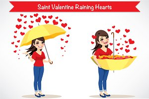 Saint Valentine Raining Hearts