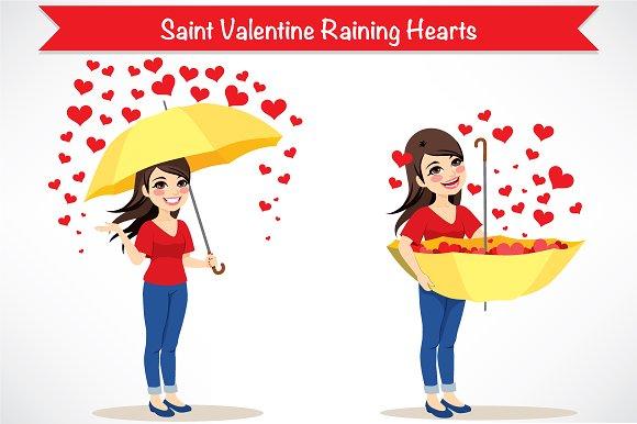 Saint Valentine Raining Hearts