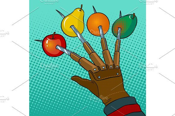 Fruits Horror Pop Art Vector Illustration