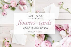 Pink Flowers & Card Mockups Bundle
