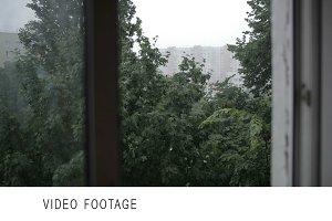 Heavy rain. Focus pulling