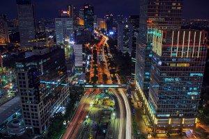 light trail, night, city, jakarta,