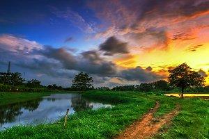sunset, sky, nature, indonesia,