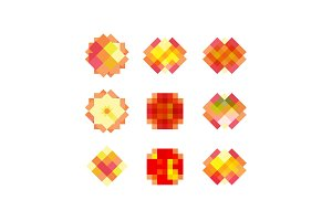 Pixel pattern set square icons with overlay vector illustration modern design