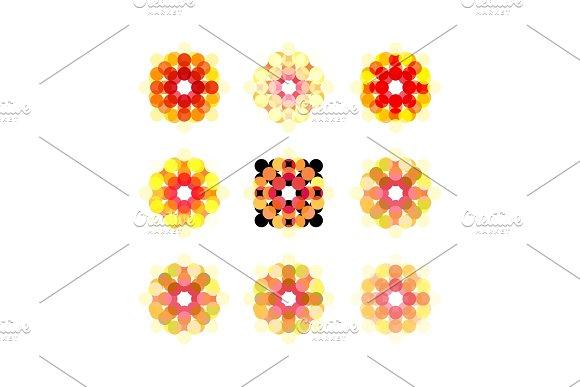Points set of round icons pattern overlay vector illustration modern design