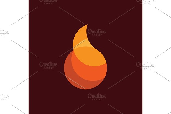 Fire Flame abstract icon modern design flat illustration