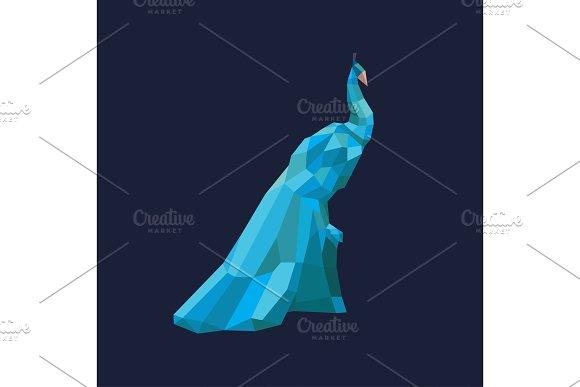 Blue Peacock polygon faceted design style modern illustration bird logo