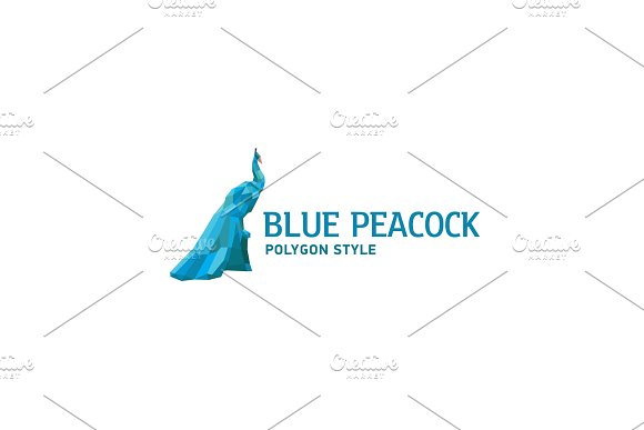 Peacock Blue Polygon Faceted Design Style Modern Illustration Bird Logo