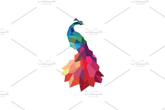 Peacock Colored Initial Submissions To Polygons Design Style Low Poly Accurate Side Art Animal Quality For Your Business Logo