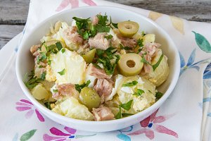 Potato salad with egg and mayonnaise