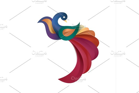 Peacock Colored Birds Illustration Of A Modern Design High Quality Performance For Your Brand Logo Style