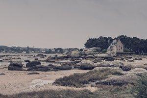 Granite rocks in the coast. Brittany