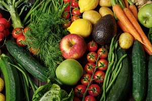 Tasty raw vegetables and fruits