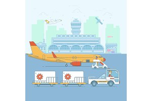 Airport, aircraft. Terminal and airplanes.ineart colorful vector illustration