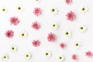 Flower pattern on white table