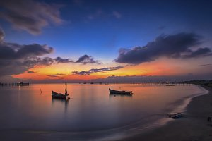 sunset, sky, beach, nature,