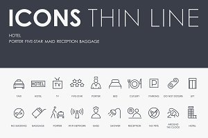 Hotel thinline icons