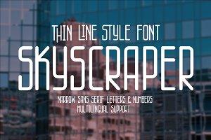 Skyscraper thin line style font.