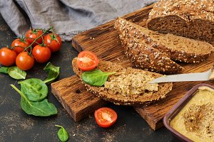 Pate from the liver on rye bread. Sa