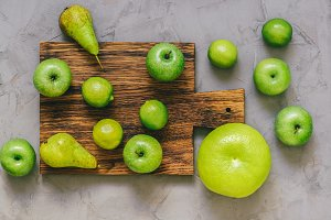 Green fruit, apples, lime, pear,orob