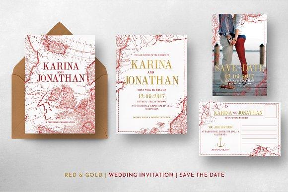 World Map Wedding Invitations.Vintage Map Wedding Suite Invitation Templates Creative Market