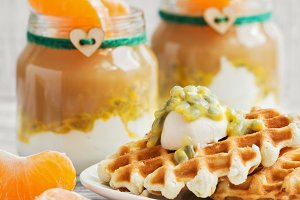 Homemade waffles with cream and pass