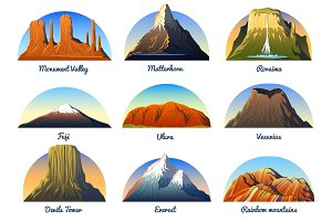 Mountains Peaks, landscape early in a daylight, big set. monument valley, matterhorn, roraima, fuji or uluru, vesuvius, devils tower, everest or rainbow. travel or camping, climbing. Outdoor hill tops