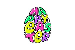Cute fashion 80s style Happy Easter typography lettering