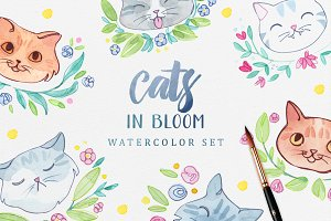Cats in Bloom - Watercolor Set