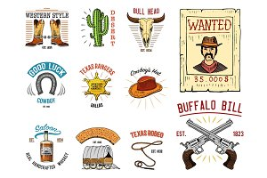 Cowboy set badges. Wild west, rodeo or indians with lasso. hat and gun, sheriff star, boot with horseshoe. engraved hand drawn in old sketch or and vintage style and labels for prints. logo or emblem.