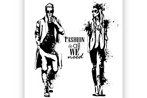 Vector woman and man fashion models
