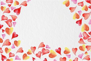 Watercolor hearts background