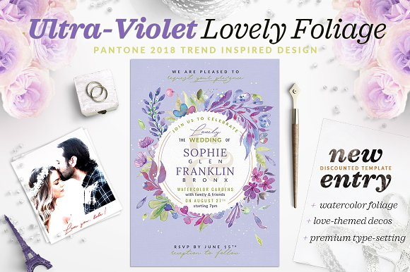 Ultra-Violet Lovely Foliage Invite V