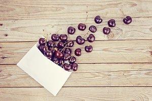 Ripe cherries dropped down